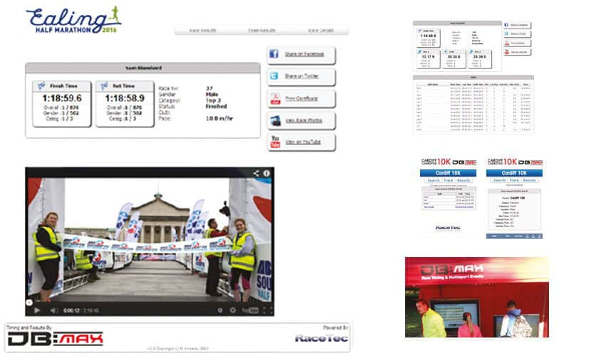 Web results - finish line video. Web results, smartphone access, results screen and slip printer.